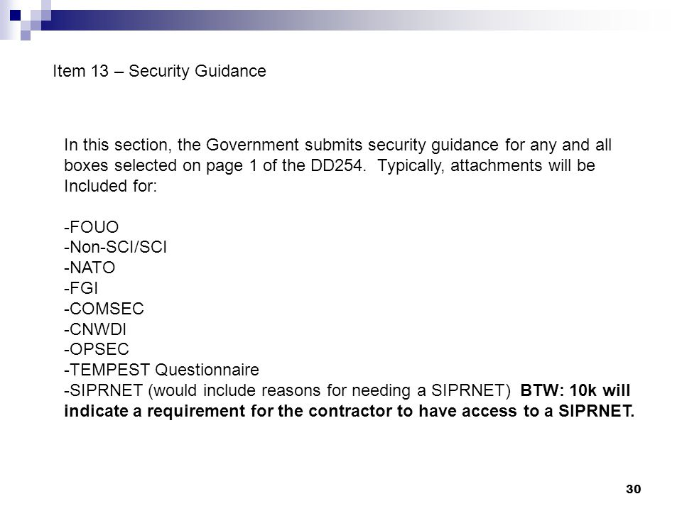 Item 13 – Security Guidance