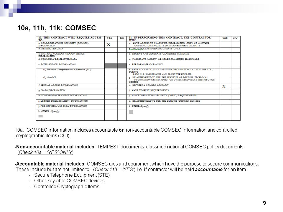 10a, 11h, 11k: COMSEC 10a. COMSEC information includes accountable or non-accountable COMSEC information and controlled.
