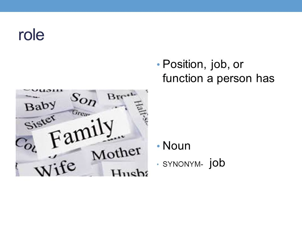 role Position, job, or function a person has Noun SYNONYM- job