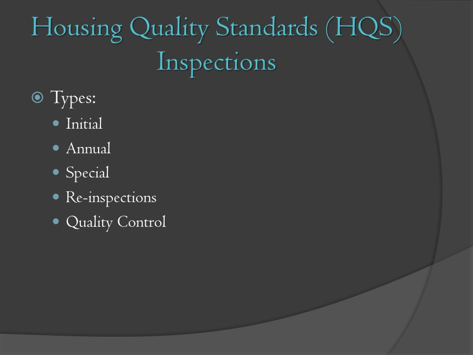 Housing Quality Standards (HQS) Inspections