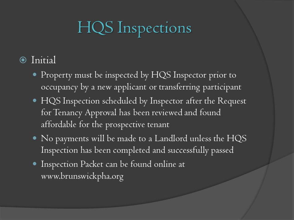 HQS Inspections Initial