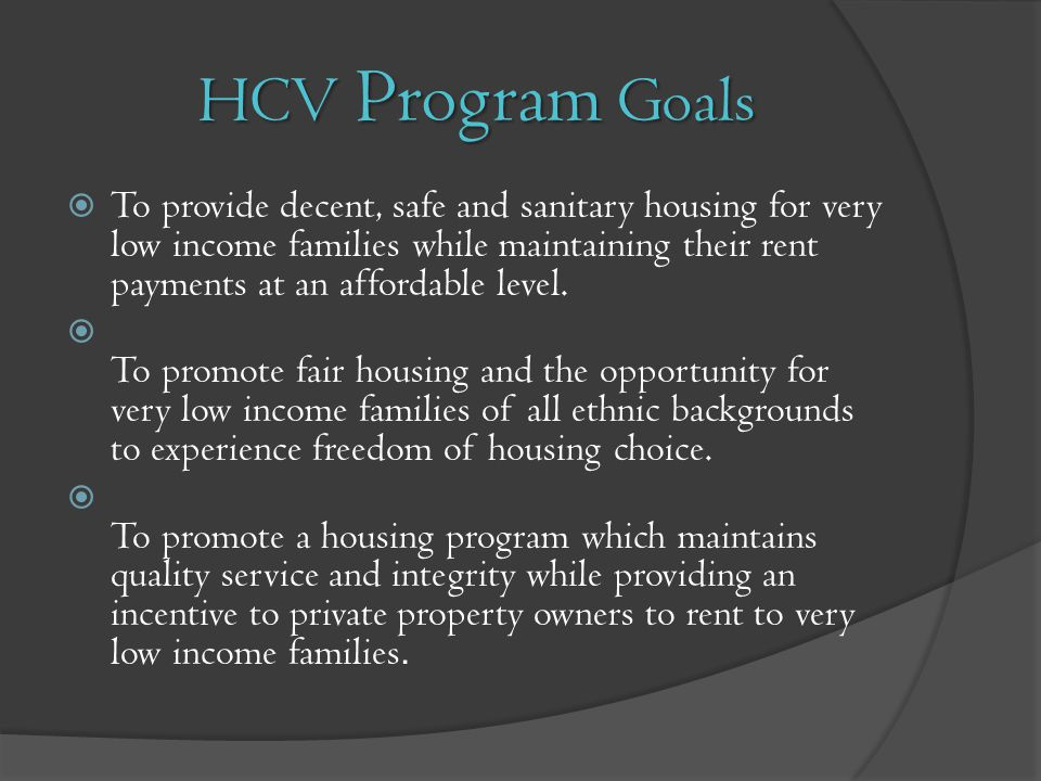 HCV Program Goals
