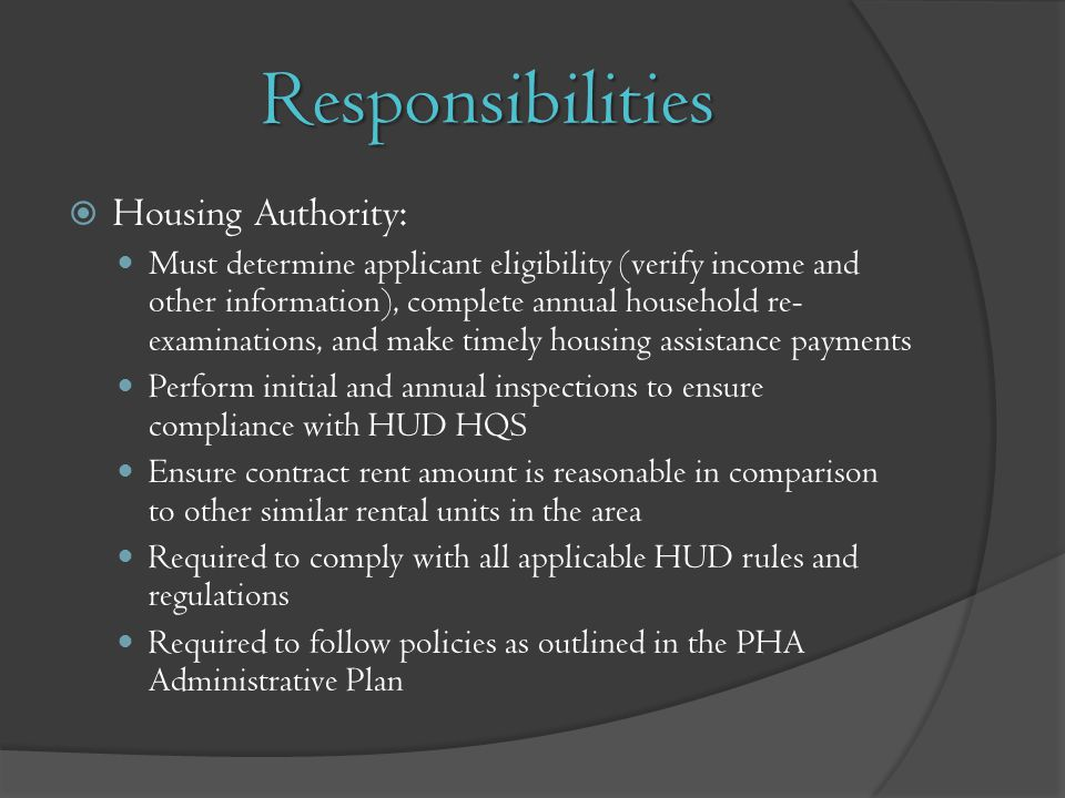 Responsibilities Housing Authority: