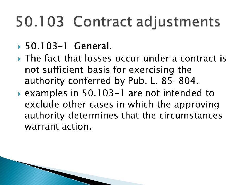 Contract adjustments General.