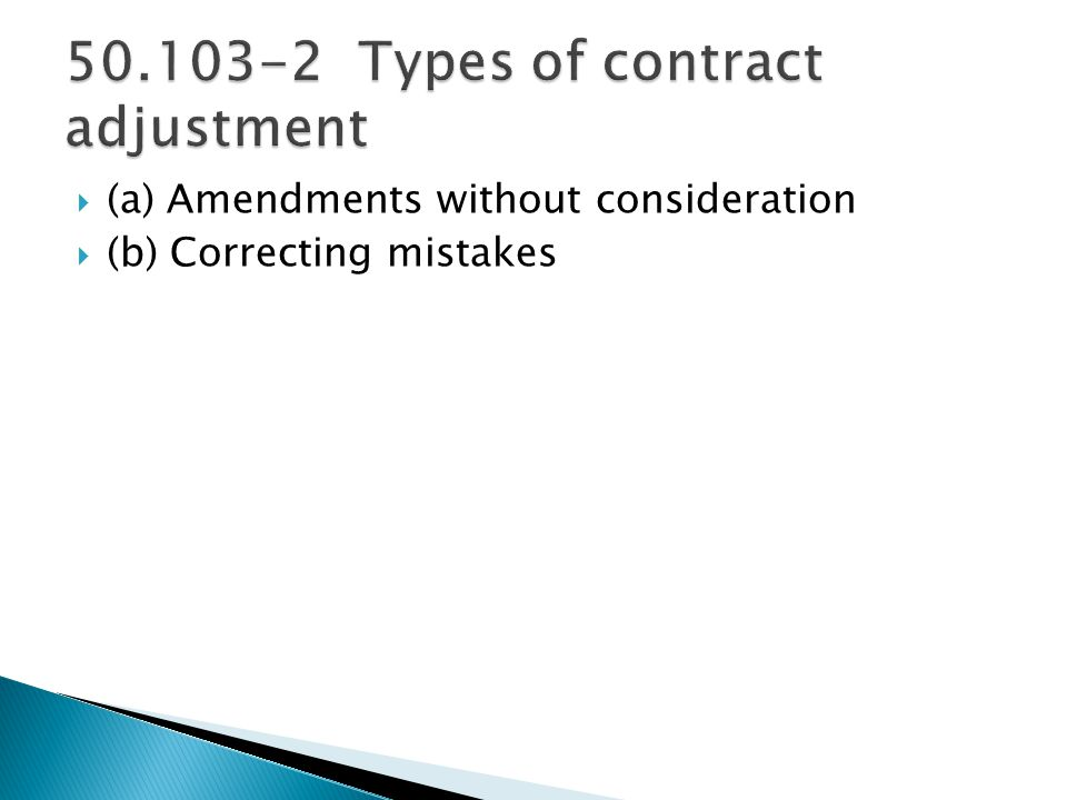 Types of contract adjustment