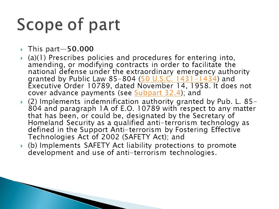 Scope of part This part—50.000