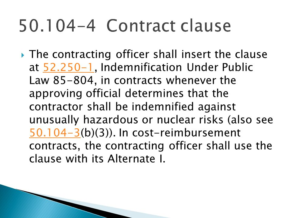 50.104-4 Contract clause