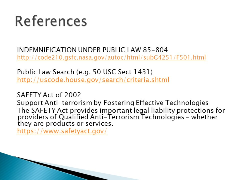 References INDEMNIFICATION UNDER PUBLIC LAW