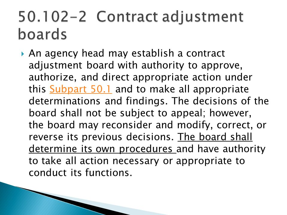 Contract adjustment boards
