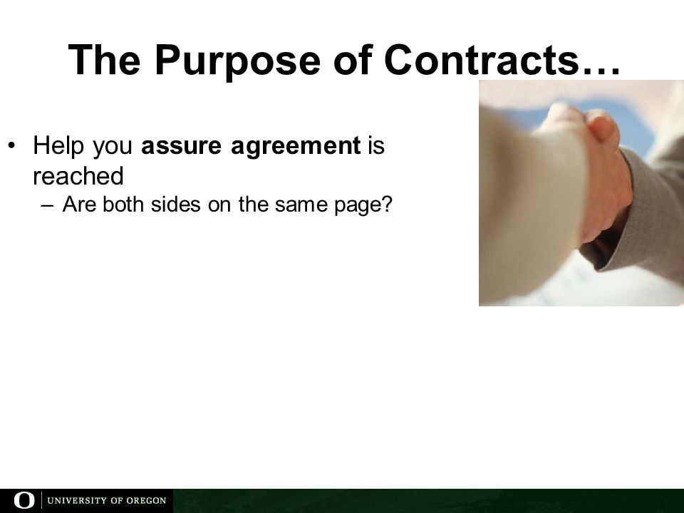 The Purpose of Contracts…