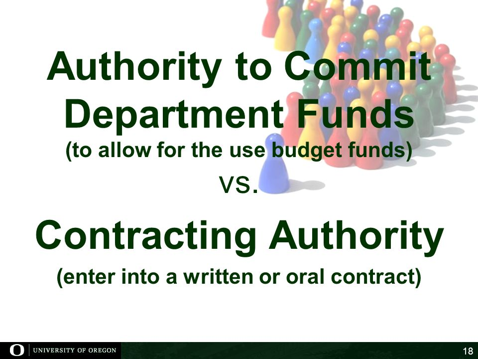 Authority to Commit Department Funds Contracting Authority