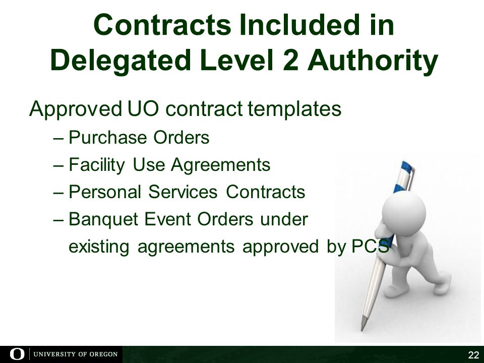 Contracts Included in Delegated Level 2 Authority