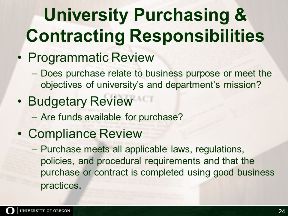 University Purchasing & Contracting Responsibilities