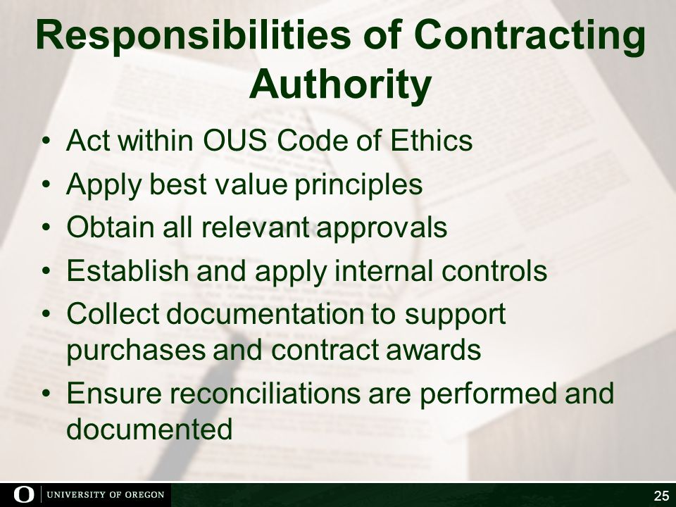Responsibilities of Contracting Authority