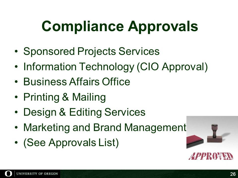 Compliance Approvals Sponsored Projects Services