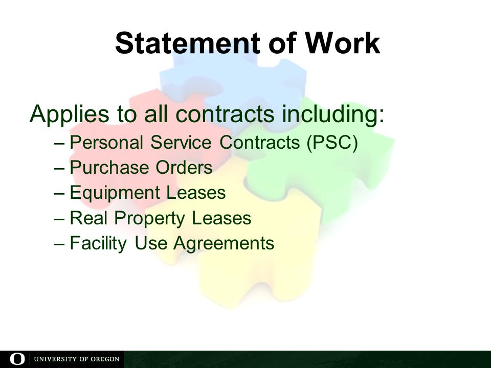 Statement of Work Applies to all contracts including: