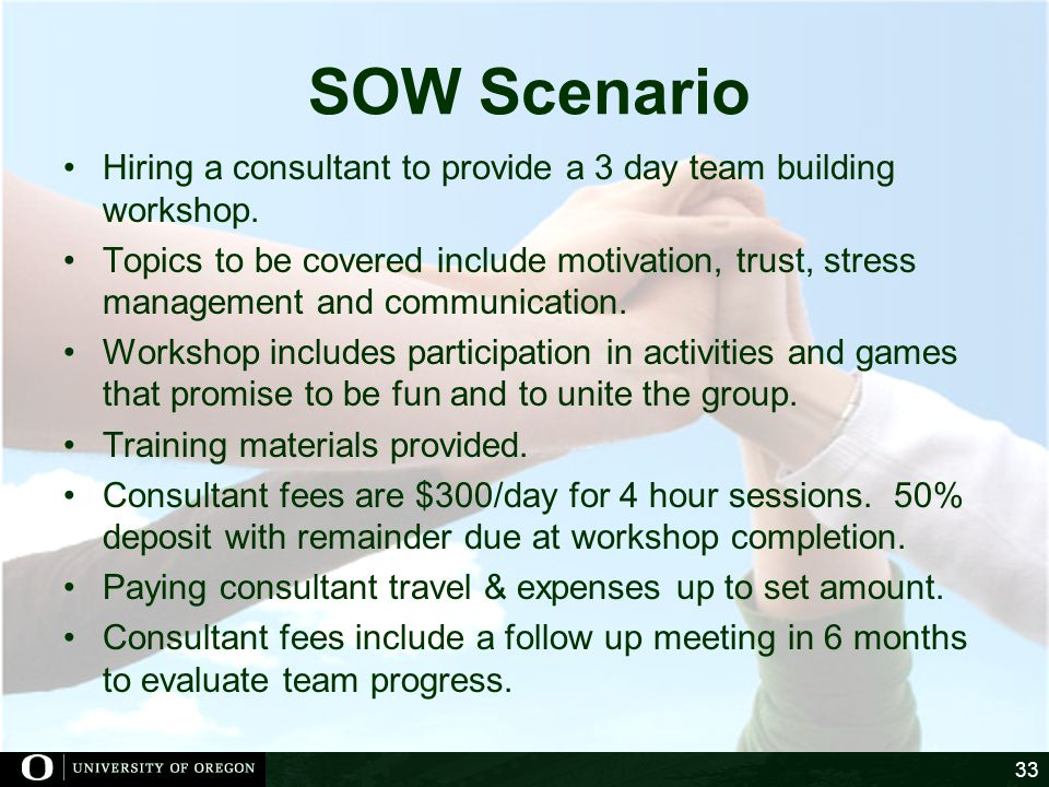 SOW Scenario Hiring a consultant to provide a 3 day team building workshop.