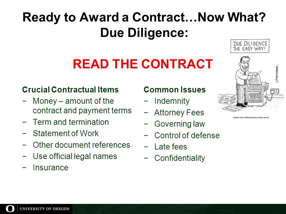 Ready to Award a Contract…Now What Due Diligence: