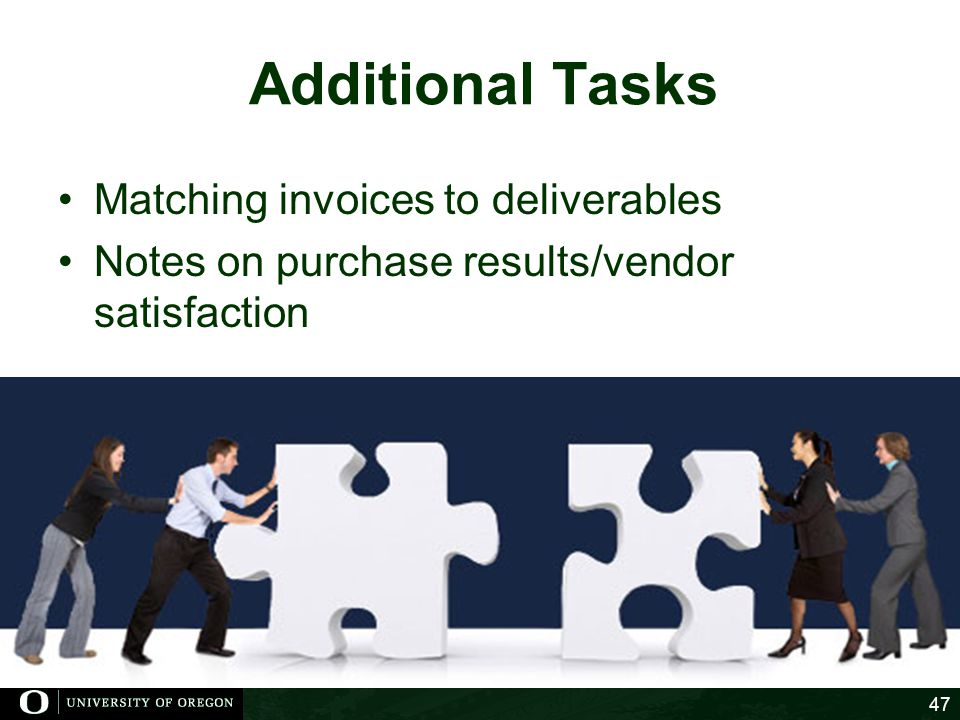 Additional Tasks Matching invoices to deliverables