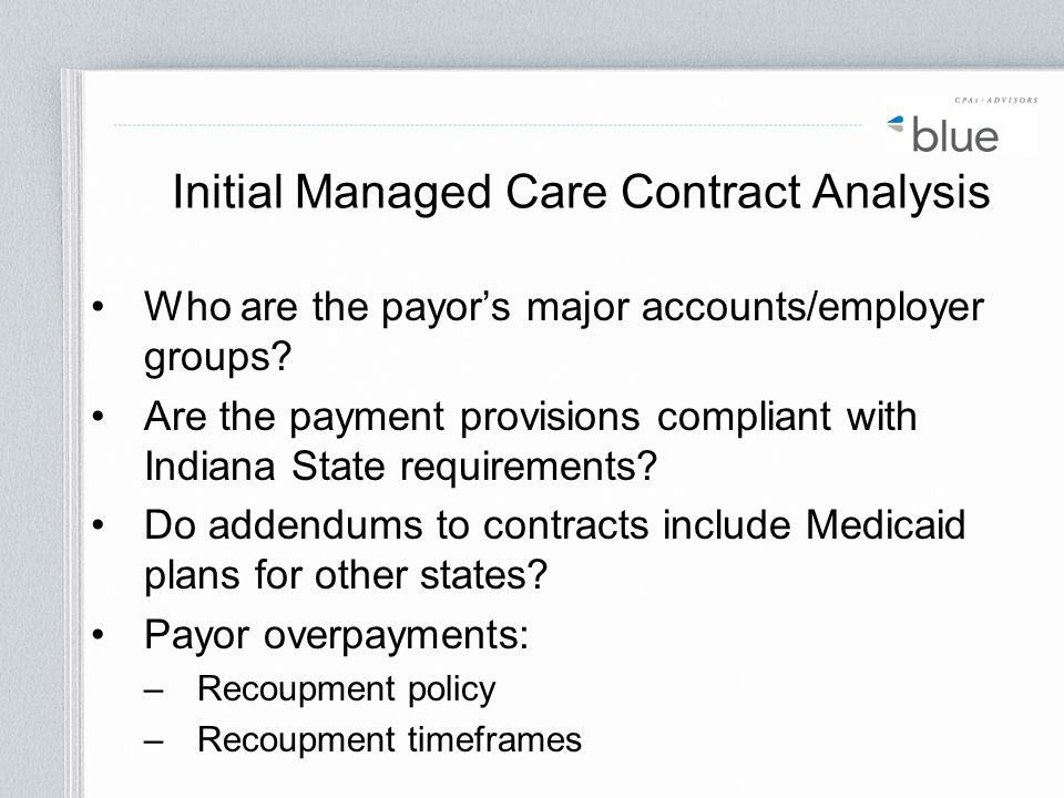 Initial Managed Care Contract Analysis