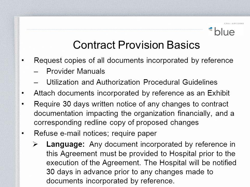 Contract Provision Basics