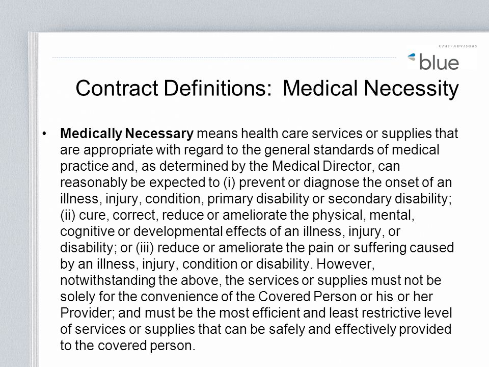Contract Definitions: Medical Necessity