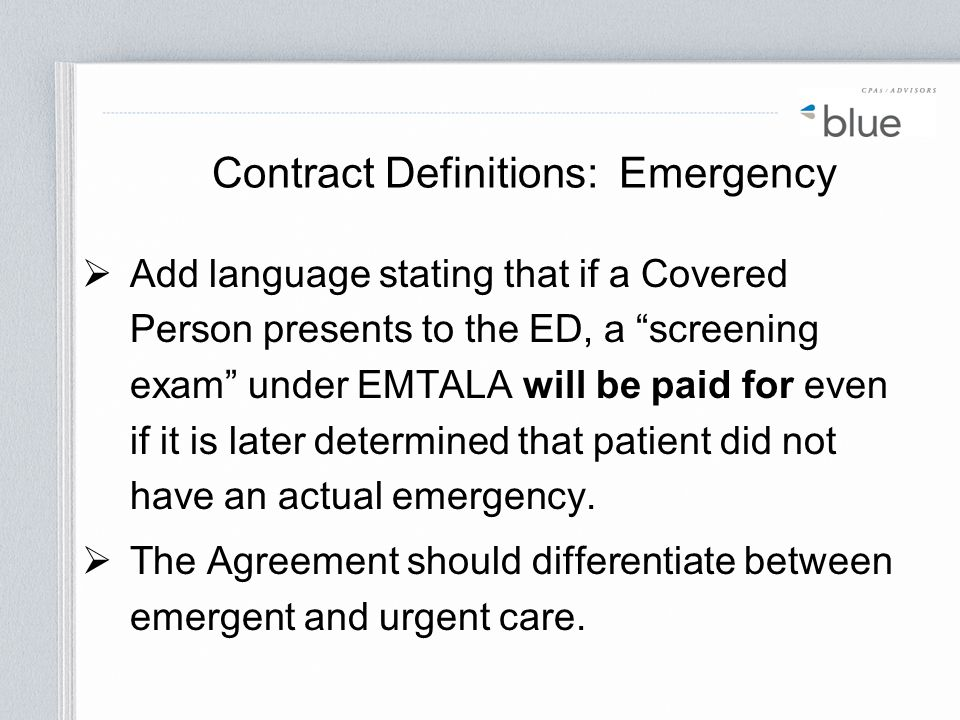 Contract Definitions: Emergency