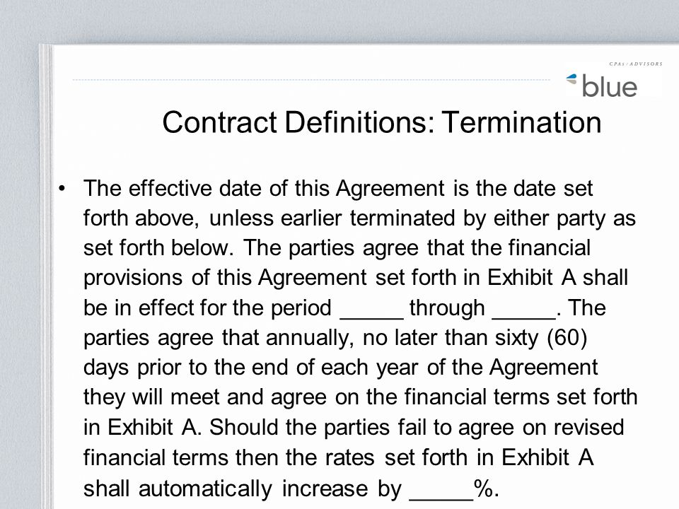 Contract Definitions: Termination