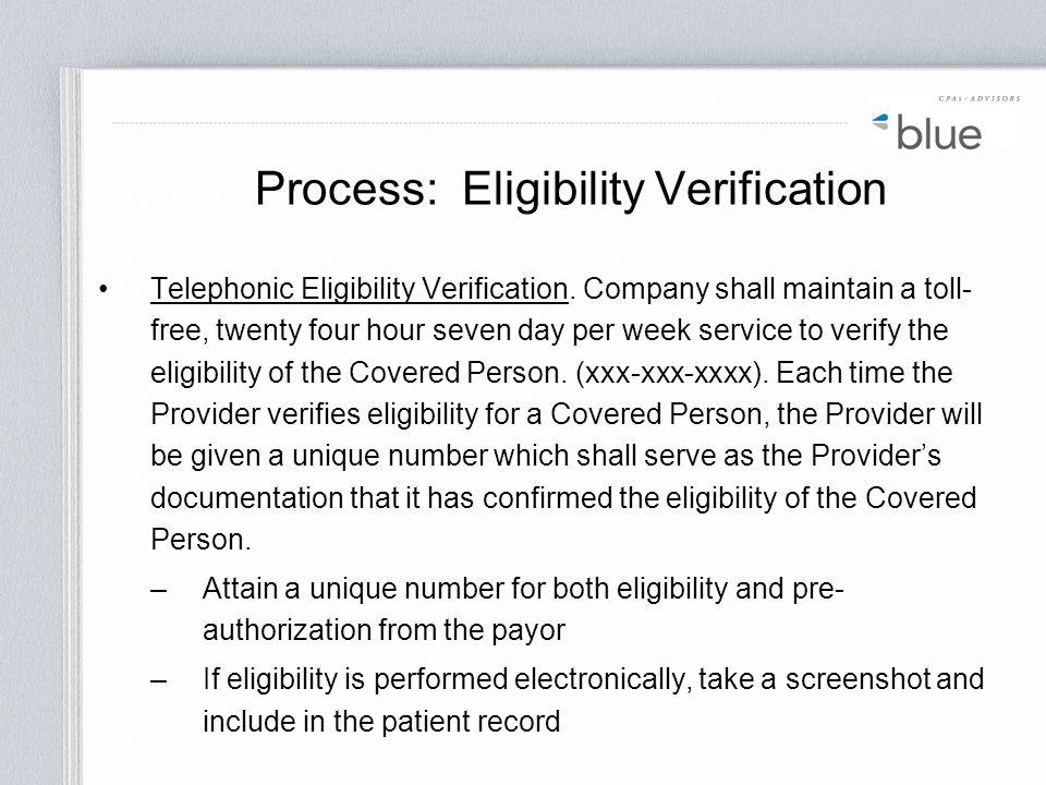 Process: Eligibility Verification