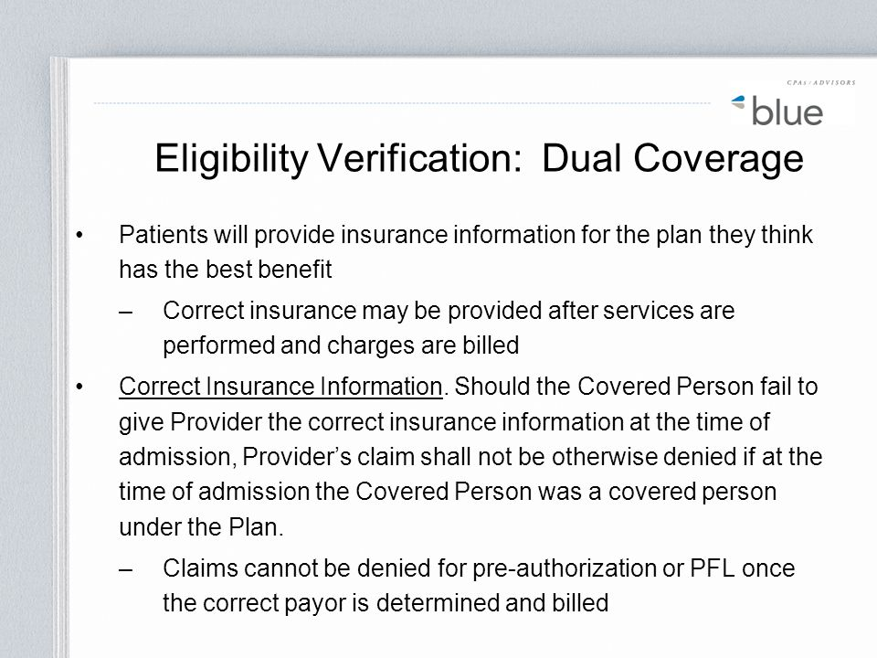 Eligibility Verification: Dual Coverage