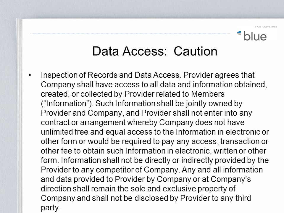 Data Access: Caution