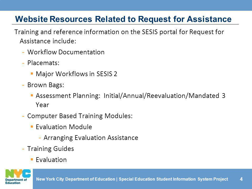Website Resources Related to Request for Assistance