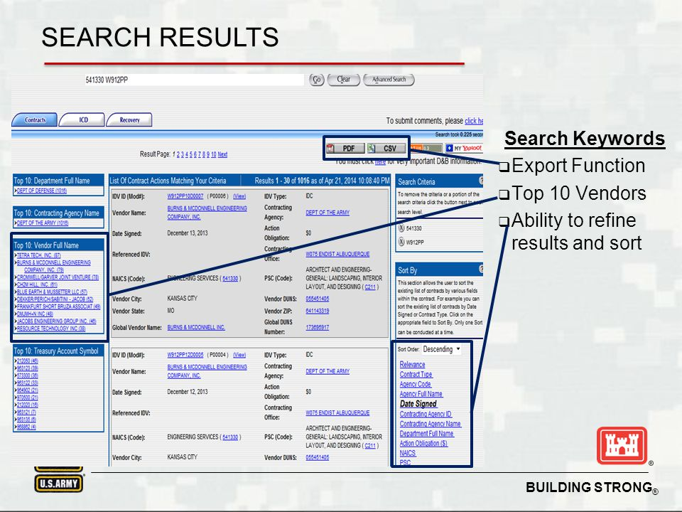 SEARCH RESULTS Search Keywords Export Function Top 10 Vendors