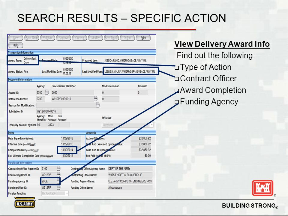 SEARCH RESULTS – SPECIFIC ACTION