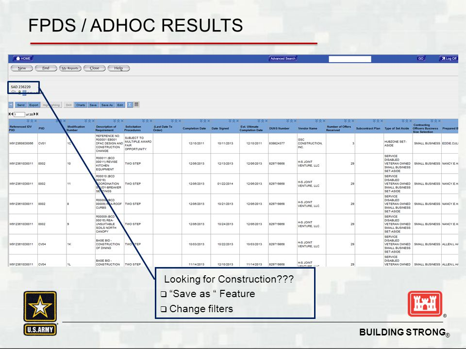 FPDS / ADHOC RESULTS Looking for Construction Save as Feature