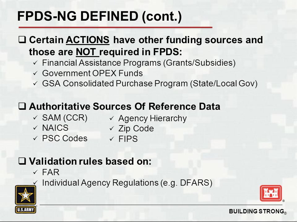 FPDS-NG DEFINED (cont.)