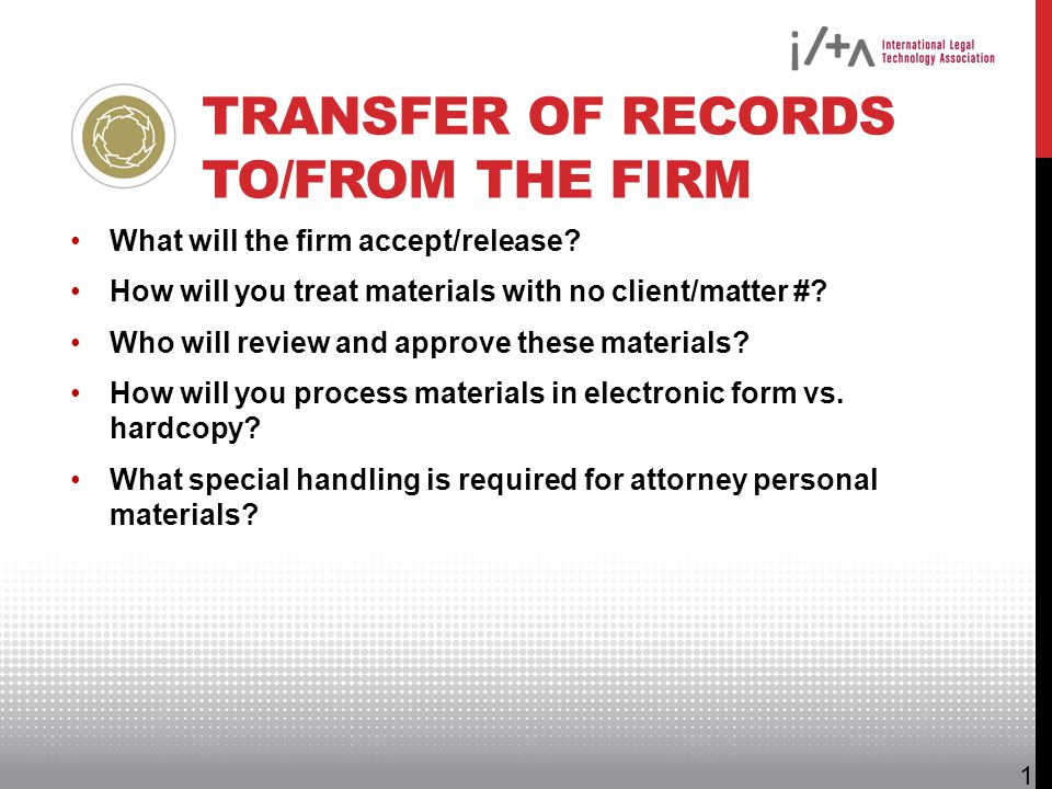Transfer of Records to/from the Firm