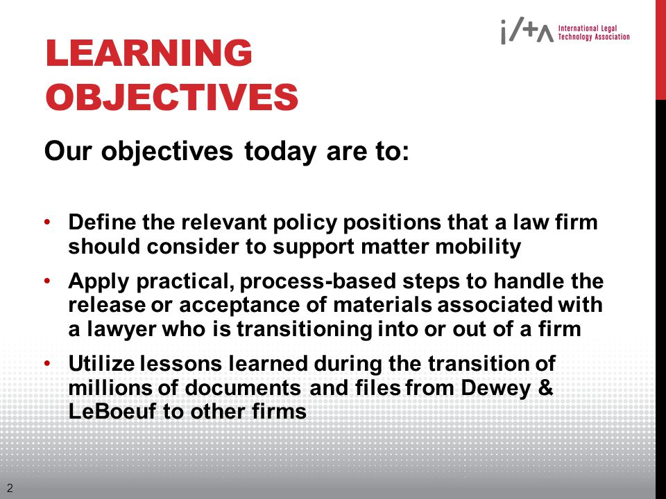 Learning Objectives Our objectives today are to: