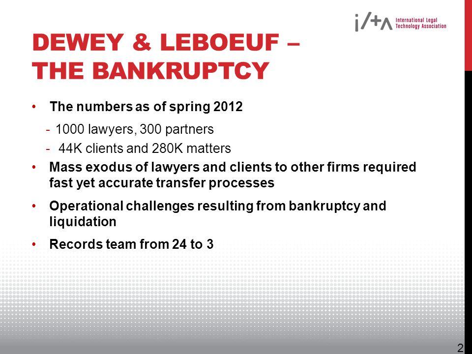 Dewey & LeBoeuf – The Bankruptcy