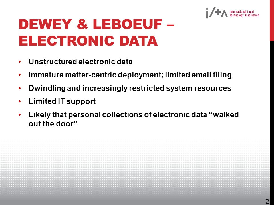 Dewey & LeBoeuf – Electronic Data