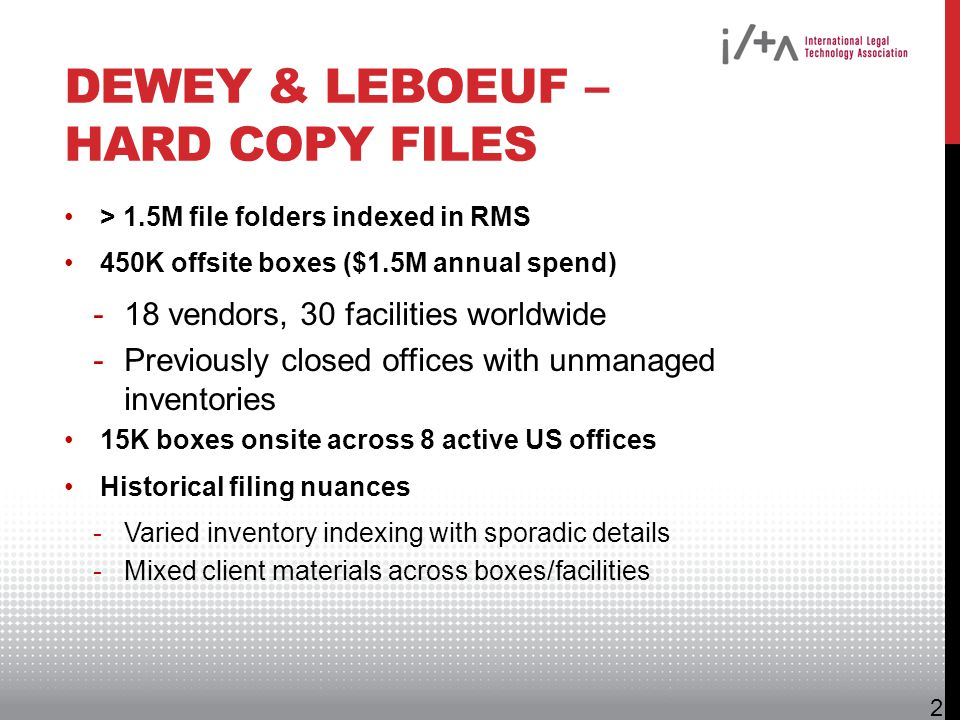 Dewey & LeBoeuf – Hard Copy Files