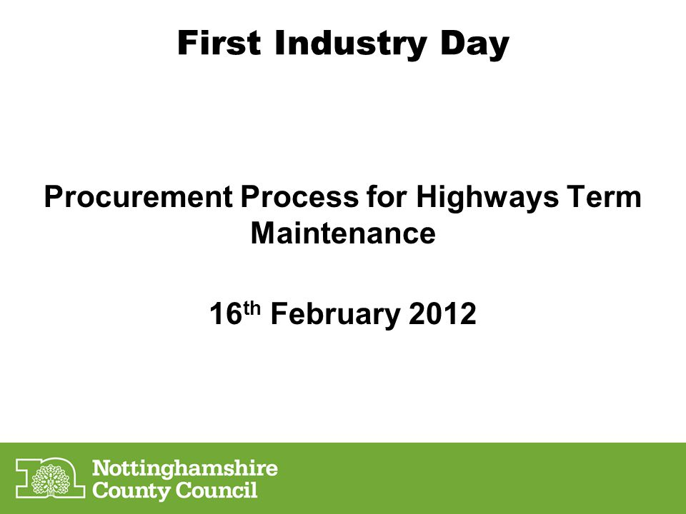 Procurement Process for Highways Term Maintenance