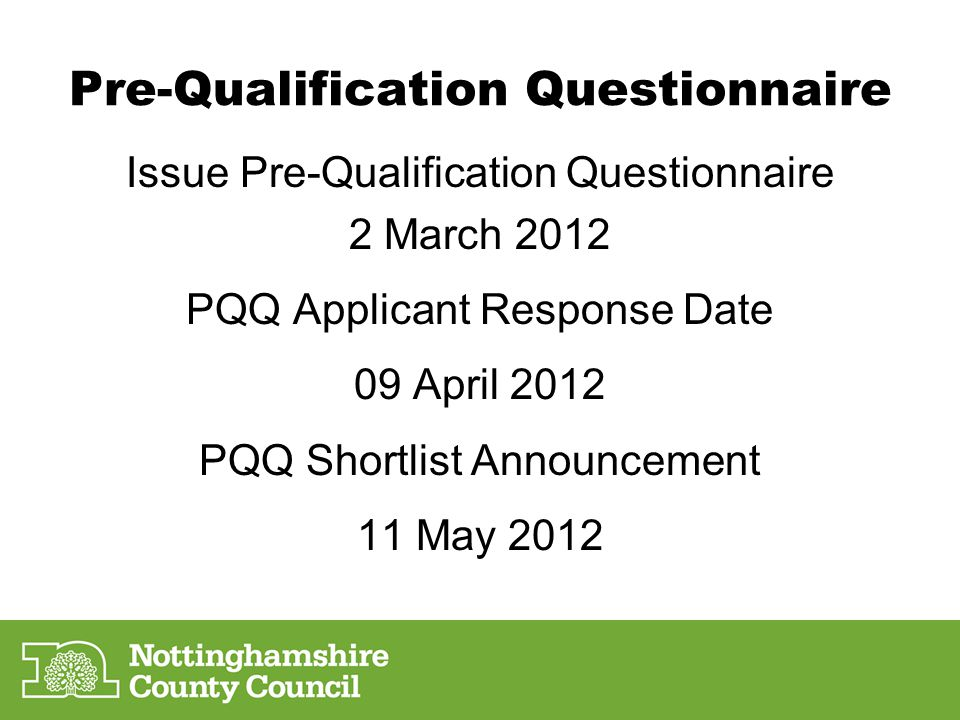 Pre-Qualification Questionnaire