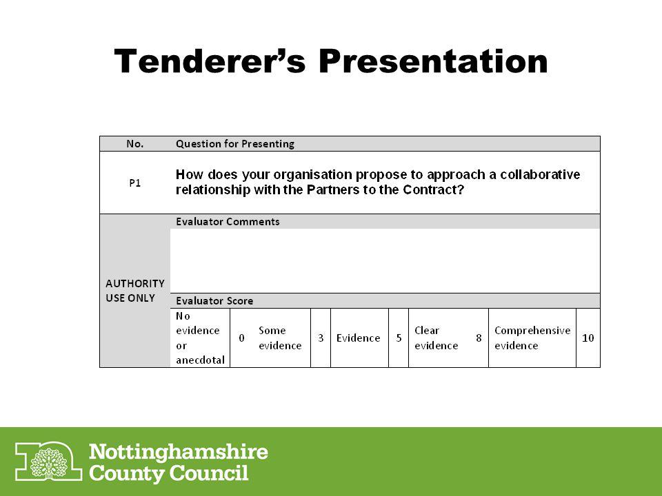 Tenderer's Presentation