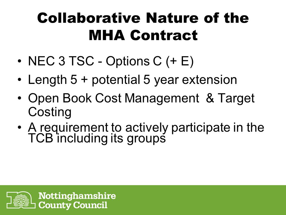 Collaborative Nature of the MHA Contract
