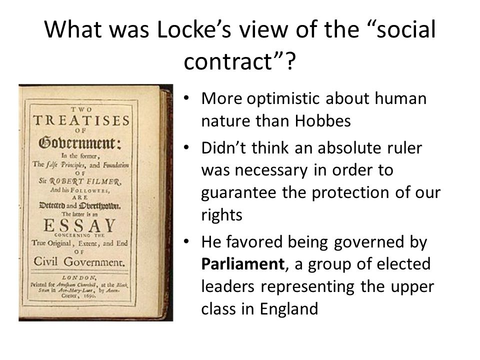 What was Locke's view of the social contract