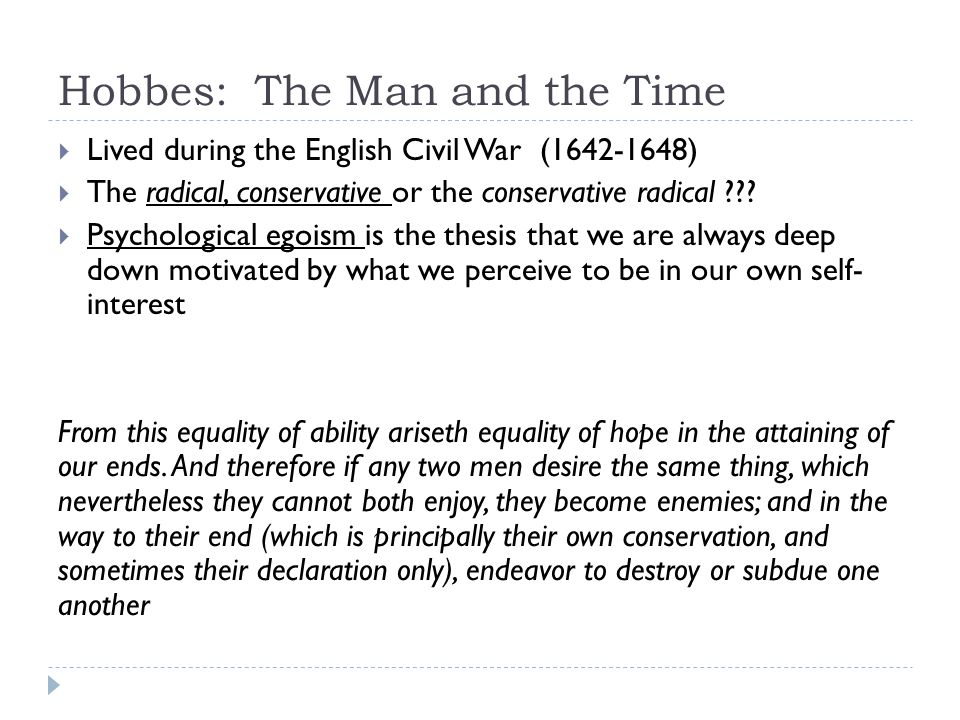 Hobbes: The Man and the Time