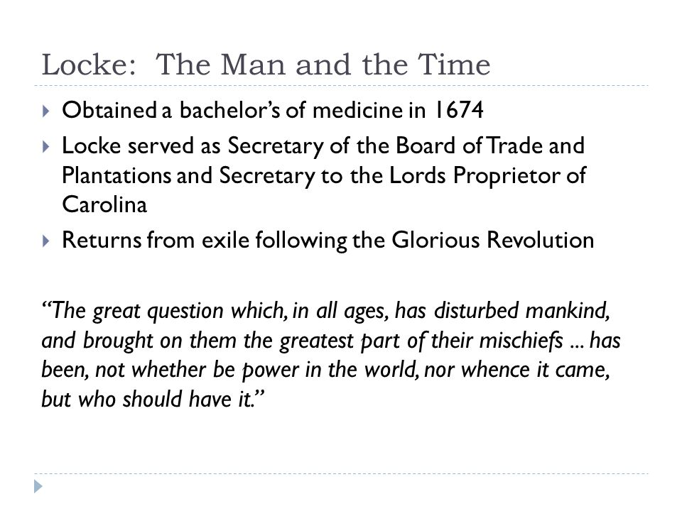 Locke: The Man and the Time