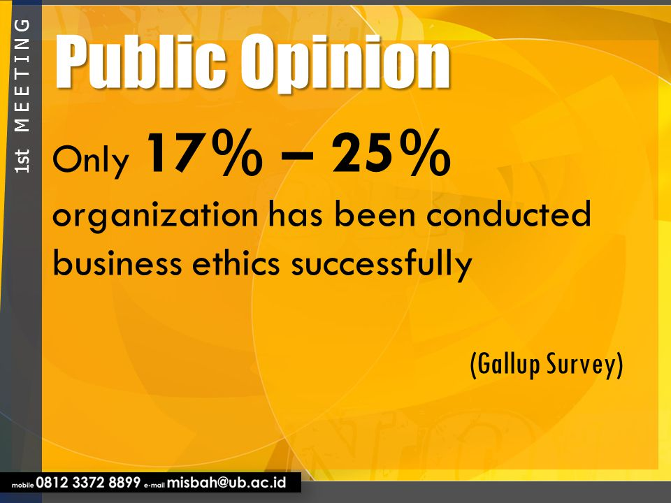 Public Opinion Only 17% – 25% organization has been conducted business ethics successfully. (Gallup Survey)
