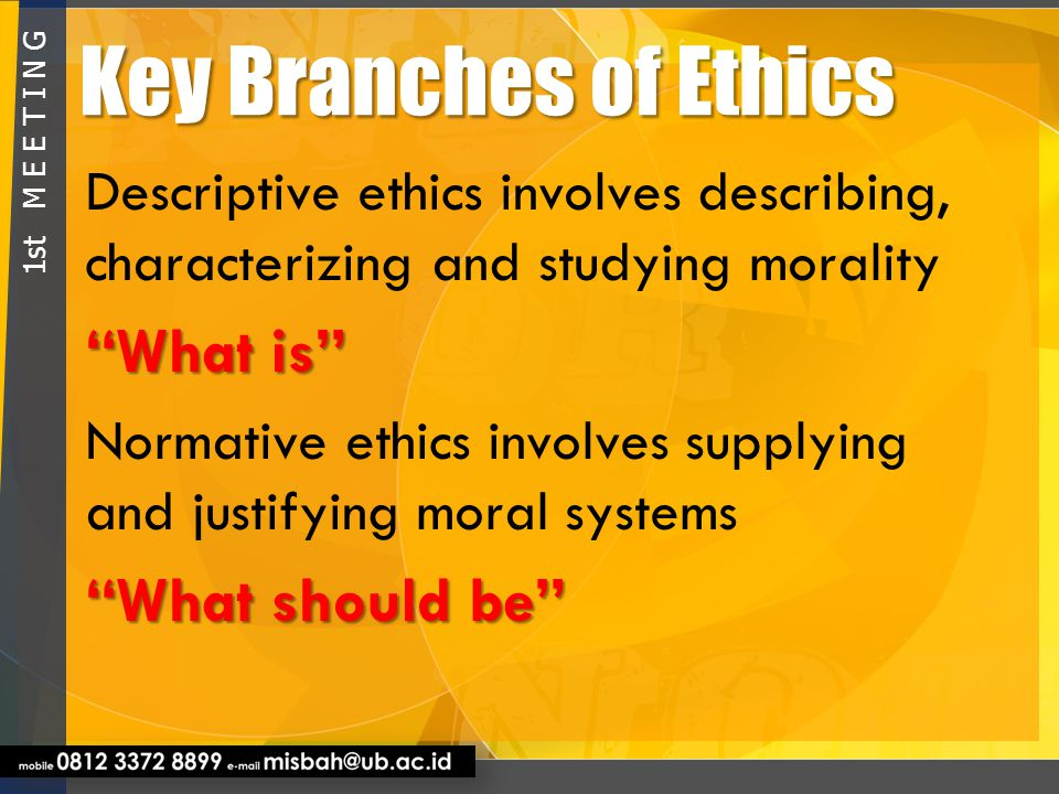 Key Branches of Ethics What is What should be